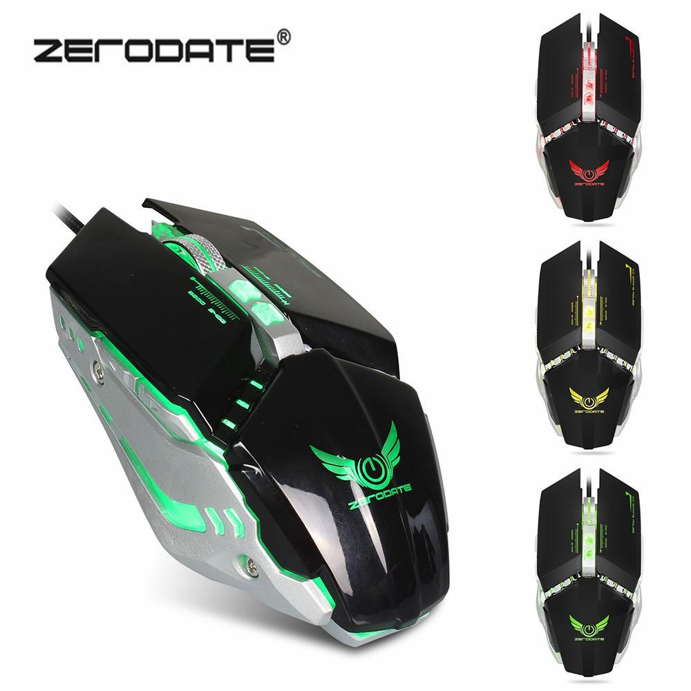 ZERODATE X700 Gaming Mouse Adjustable 3200DPI with Breathing LED Light Mice  Macro Programming Gamer Mouse for PC Laptop