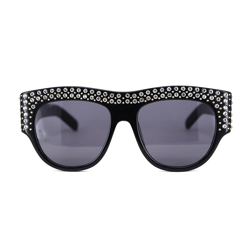 d625c4b423 Women s Ovesize Acetate Sunglasses With Crystals Stone Fashion Oval Sun  Glasses And Clear Frame In Thick Arm Black Light Blue Round Sunglasses  Cheap ...