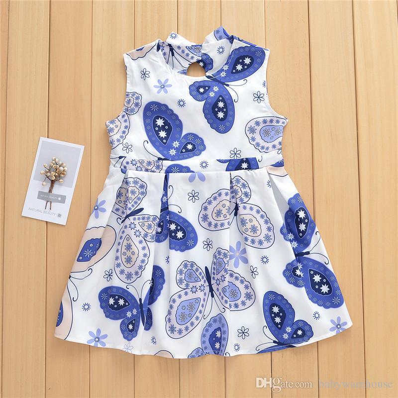 2018 Ropa de verano para niños Ropa de niña bebé Mariposa impresa Vestidos para niños Niñas pequeñas sin mangas sin respaldo vestido de dos bowknots