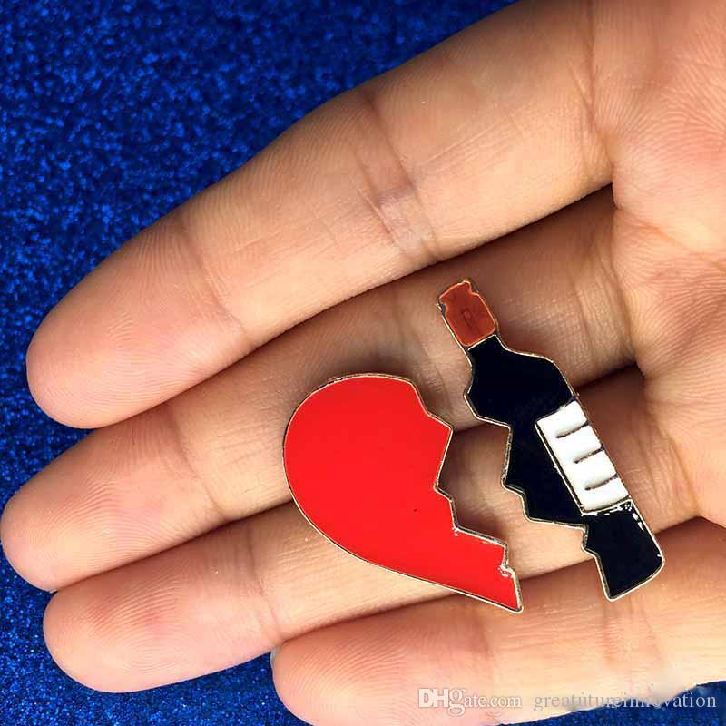 Love Heart Red Wine Bottle Brooch Jacket Jeans Handbag Alloy Brooches Metal Badges on The Backpack Badge pin for Clothes drop shipping