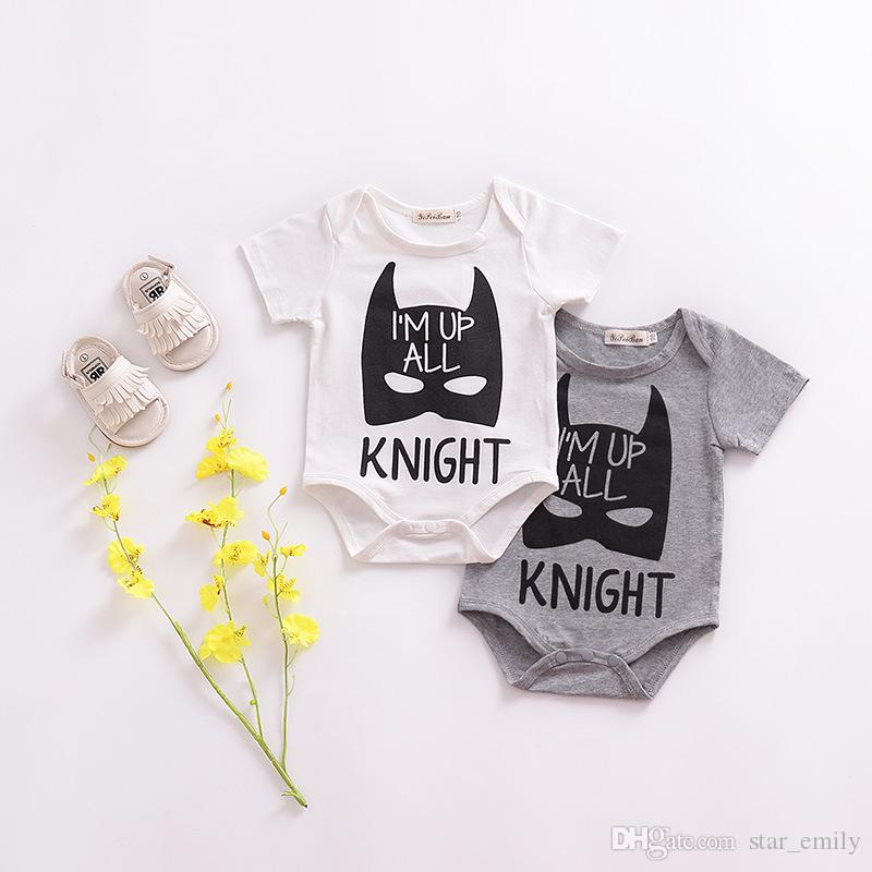 11b451558b34 2019 Summer New Baby Rompers Monster Knight Bat Letter Print Short ...