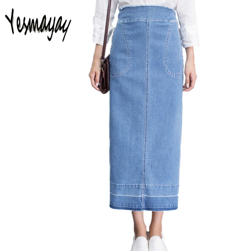 590dfc4bc New Fashion 2018 Women's Blue Denim Skirt Casual High Waist Girls Maxi Long Jeans  Women Skirt for Female Korean Slim Hip Skirts