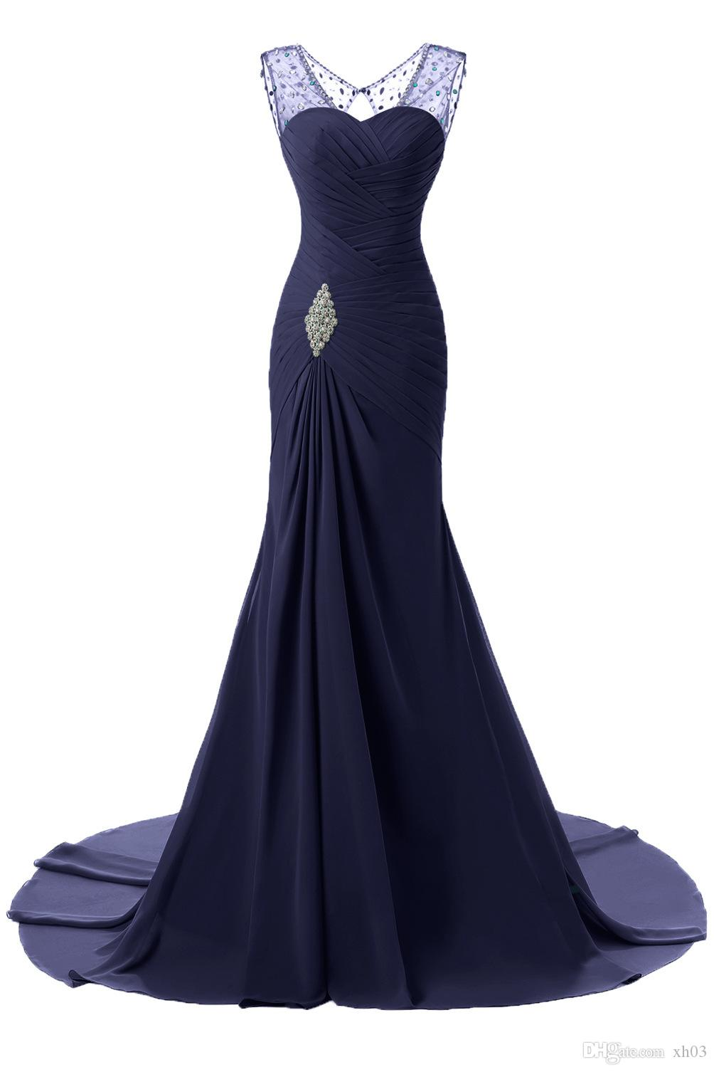 In Stock V Neck Long Mermaid Formal Evening Dresses Sheath Bodice Lace Crystal Beading Prom Gown Robe De Soiree