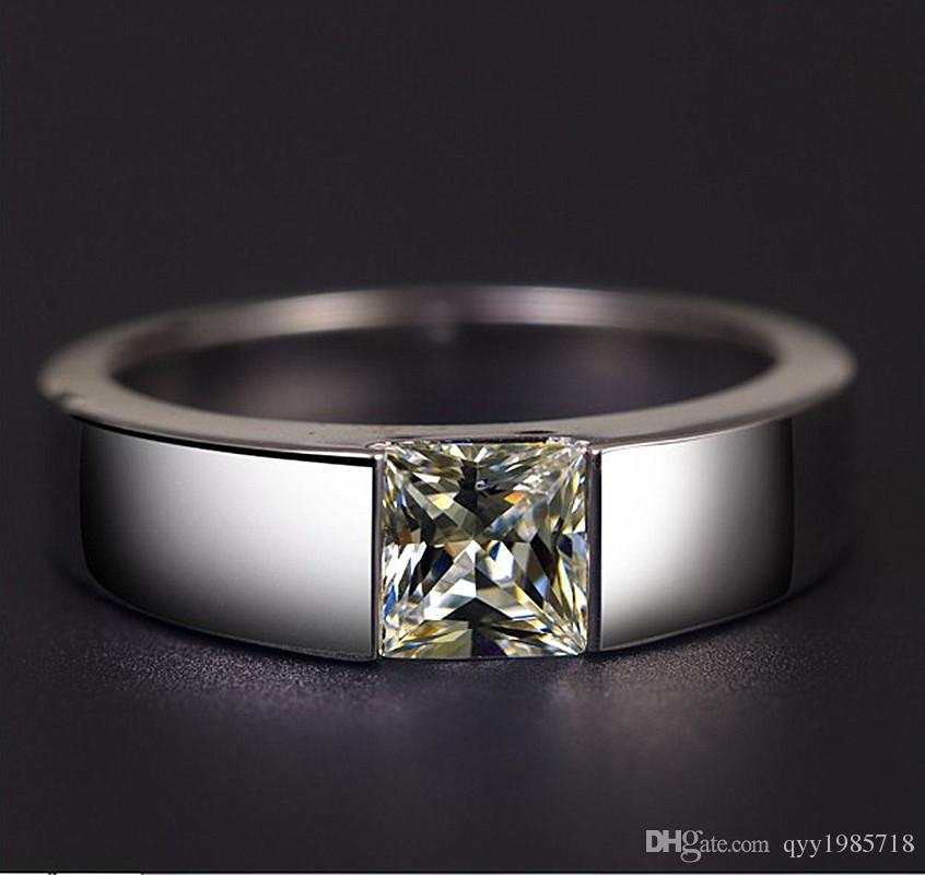 2019 Male Ring 2ct Synthetic Diamonds Princess Ring