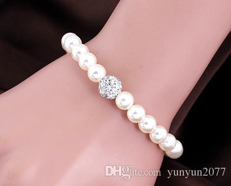 Fashion Fine Accessories Jewelry Set Bride wedding Pearls Bead Ball Rhinestones Dangle Earrings Chokers Necklaces Charm Bracelets For Women
