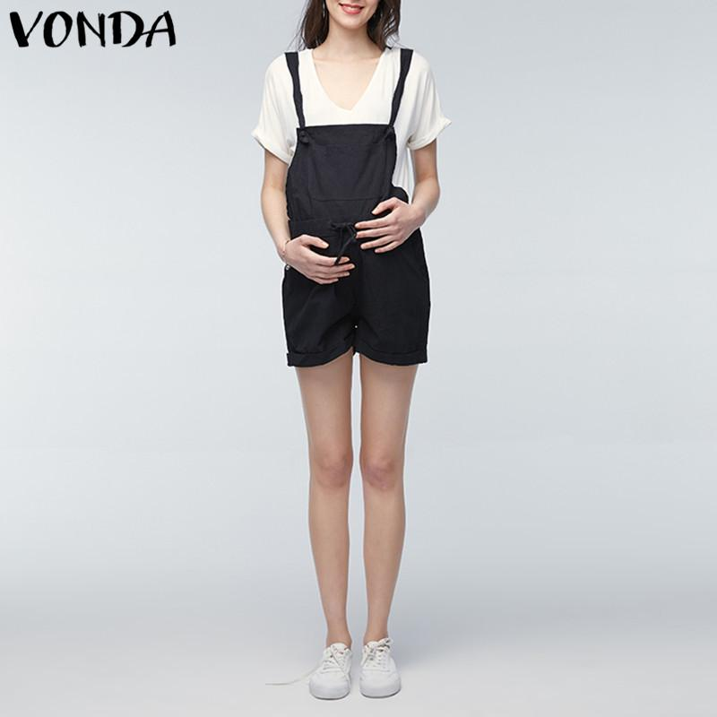 2df36be9bfea2 2018 VONDA Rompers Womens Jumpsuit 2018 Summer Pregnant Casual Sleeveless  Maternity Clothings Pregnancy Pants Trousers Plus Size 5XL Womens Summer  Pregnant ...