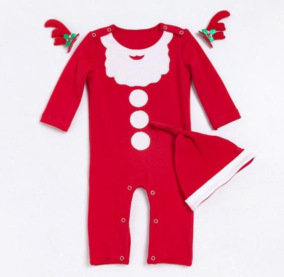50e86f36e478 2018 New High Quality Red Long Sleeved Christmas Santa Rompers Cute ...