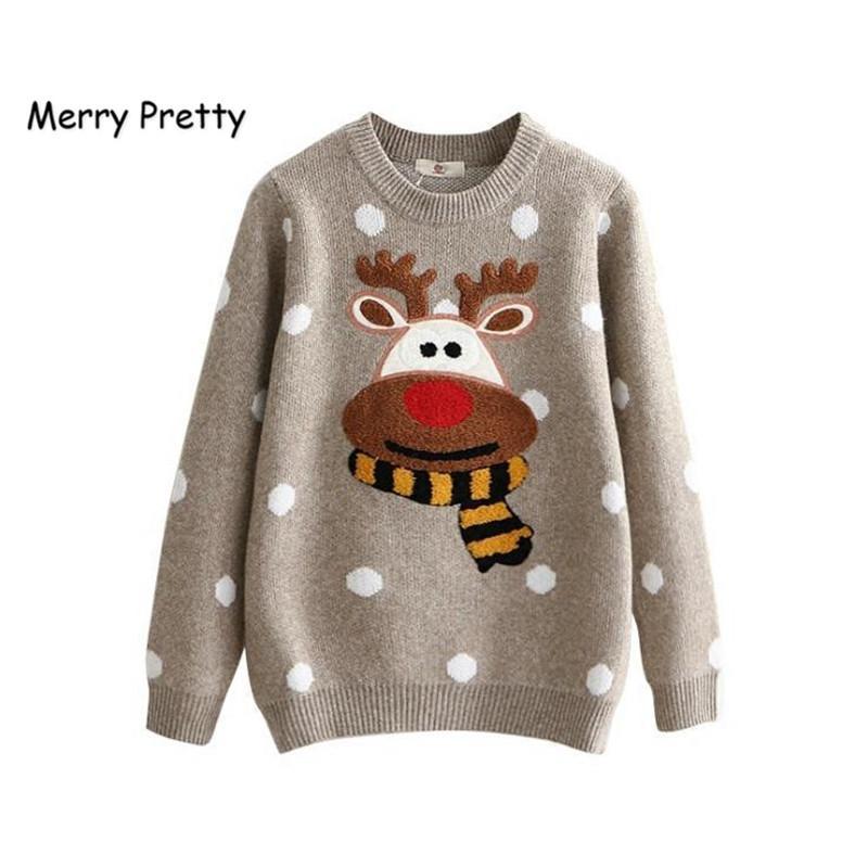 Frohe hübsche winter warme pullover frauen weihnachten hirsch niedlich dot baumwolle jumper gestrickte pullover weibliche langarm pullover