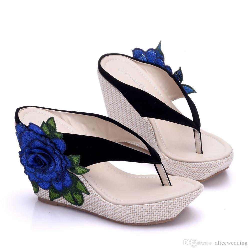 Mode De Femmes Wedges Talons Perles Chaussures Mariage Forme Pantoufles Nouveau Bohême Taille Plage Appliques Plate Plus Pour Les Style Tongs La tsQhrd