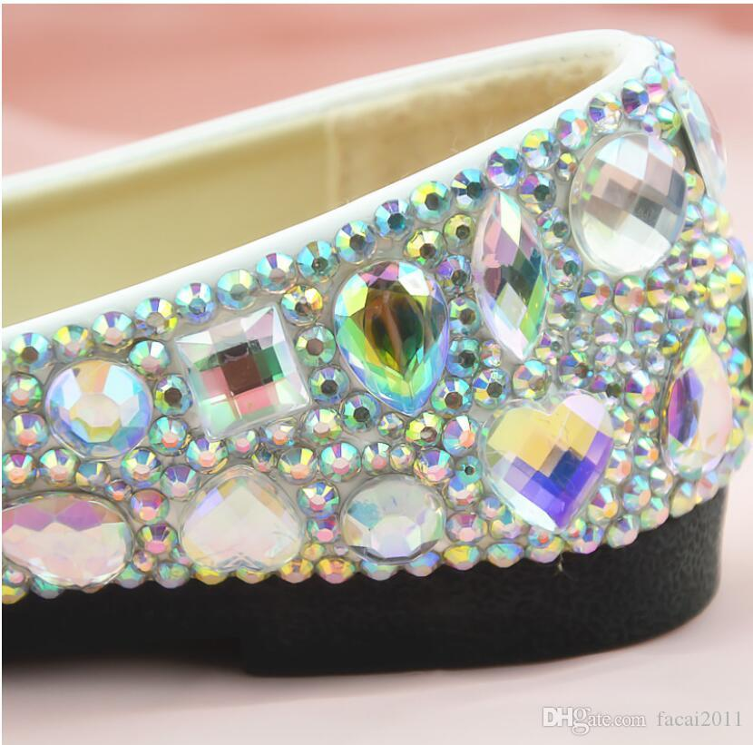 Новый 2018 Плоский Белый Gem AB Diamond Crystal Shoes Ночной Клуб Обувь Artisanal Обувь Женщины Банкетный Белый Высокий Каблук женские Одноместный