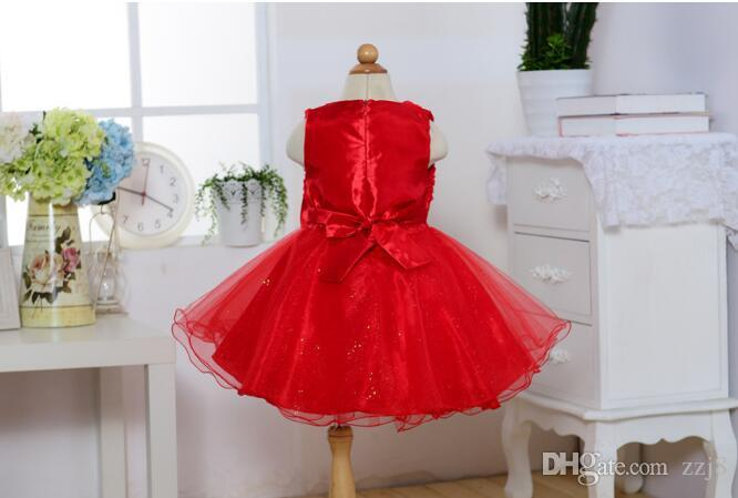 Baby Girl First Birthday Party Dresses Big Bow Rose Flower Floral Evening Gown Back Bow Wholesale