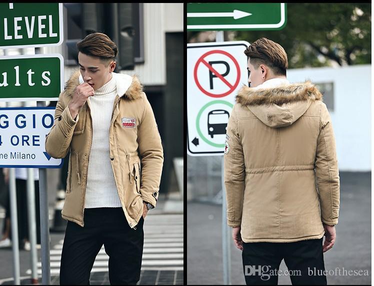 578235061 Men Parka Coat 2018 Men Warm Korean Style Padded Jacket Male Hooded ...