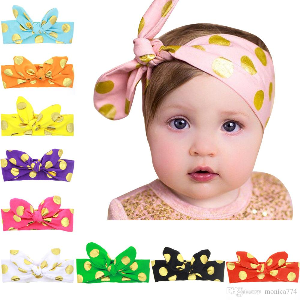 Fast Ship!6colors 62*5.5CM Cute Baby Kids DOT DOT DIY Bunny Ear GOLD STAMPING Hair bands Satin Bowknot Headbands Rabbit Ear Headwear BE12