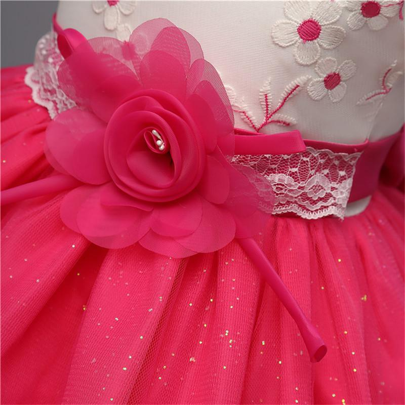 Children Clothing New Brand Baby Girl Dress Tulle Flower Kids Prom Party Dresses For Girls Events Ceremony Vestidos Wedding Gown