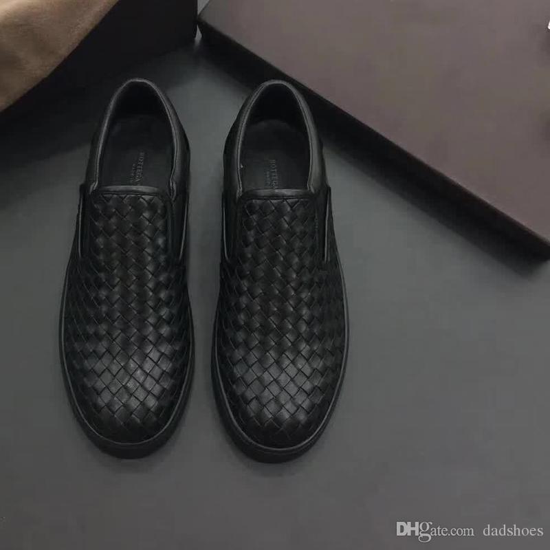 Europäische Station 2018 neue Sommer Herren echtes Leder gewebt Soft-soled Freizeitschuhe britische Mode faule Schuhe