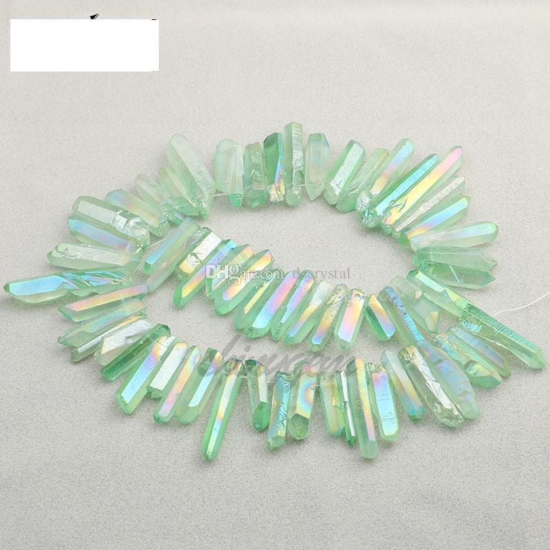 50g Titanyum Temizle Kuvars kolye Doğal Ham Kristal Wand Noktası Kaba Reiki Şifa Prizma Küme kolye Charms Craft