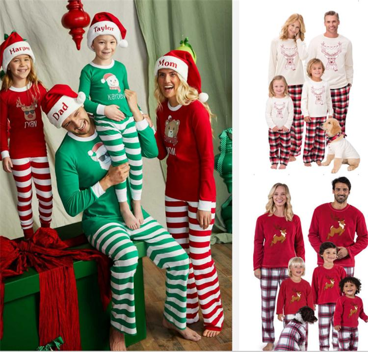 cbe0d52825 Autumn Warm Winter Xmas Santa Deer Elk Christmas Family Kids Women Men  Adult Sleepwear Pajamas Set Striped Plaid Cotton Pyjamas Outfits Funny  Adult Group ...