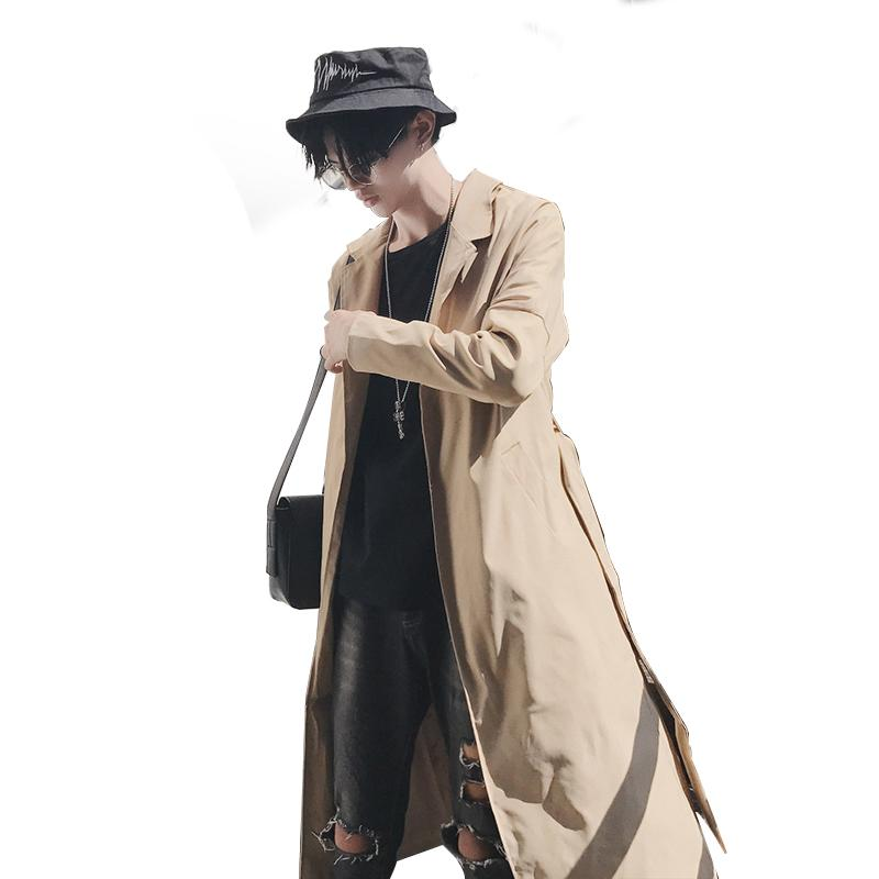 d25eb0c8120d 2019 2018 Autumn Trench Coat Men New Fashion Solid Color Turn Down ...