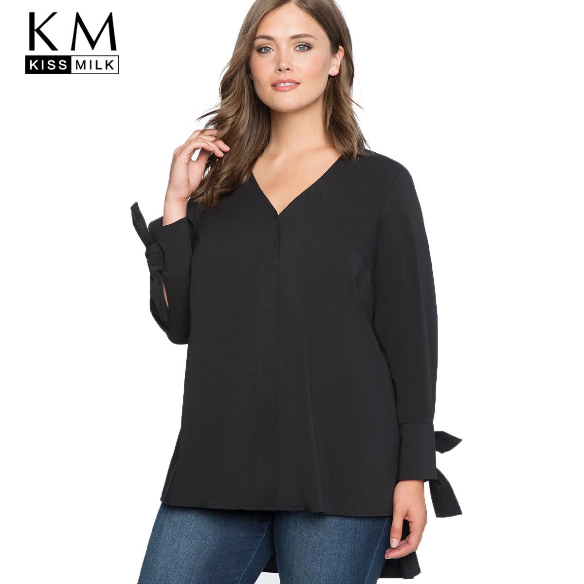 Kissmilk 2017 Plus Size Solid Black V-neck Women Shirts Full Sleeve Lace Up  Split Bow Female Clothing Sexy Lady Big Size Tops Female Clothing Plus Size  Tops ... 23d6e7d02a7b