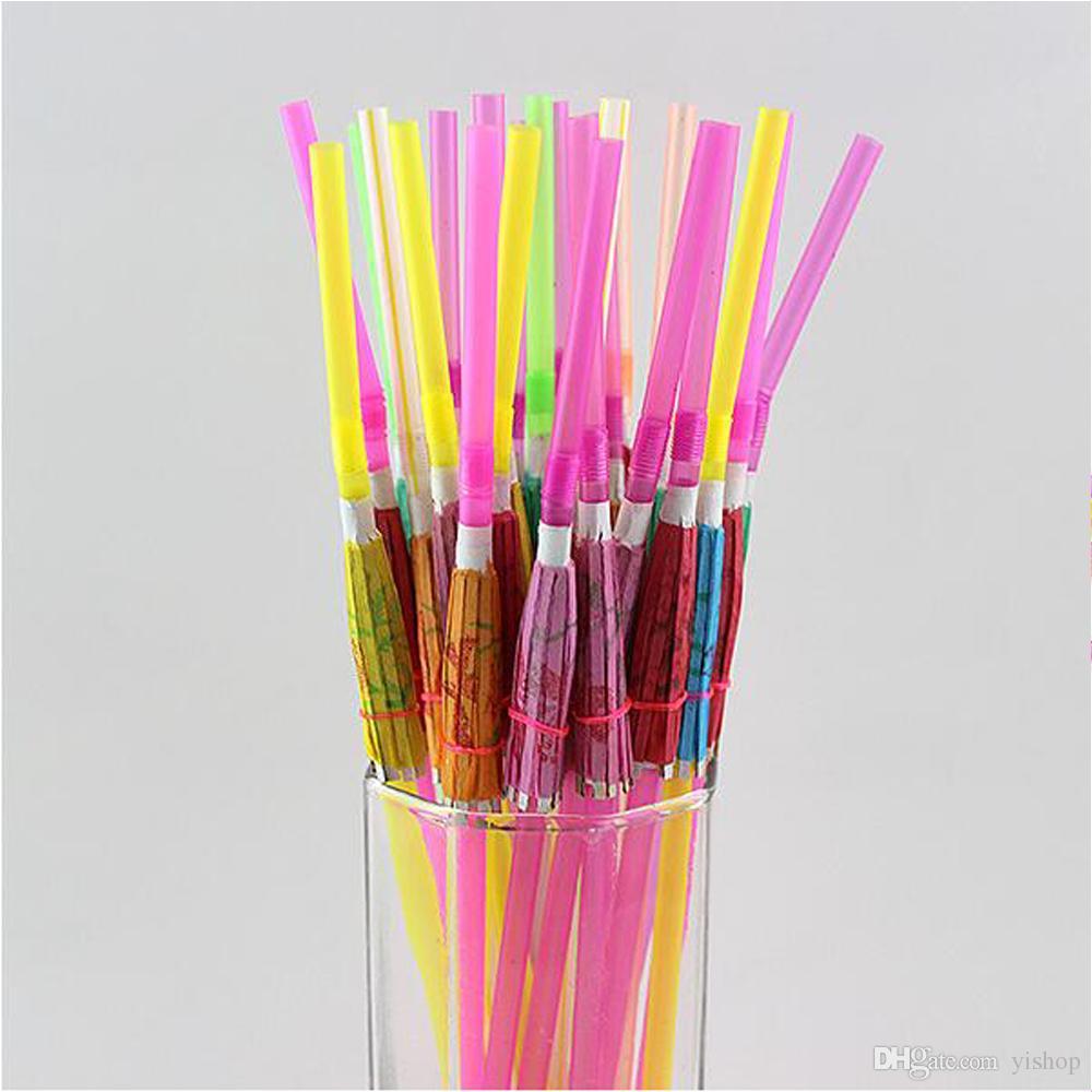 Creative KTV Bar Decorat Disposable Plastic Straw Cocktail Parasols Umbrellas Drinks Picks Wedding Event Party Supplies Holidays Luau Sticks