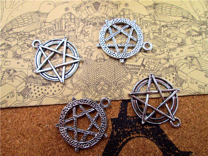 30 PCS Antique Silver Pentacle Star Circle Pendants, Pentagram Charms, Jewelry Making Findings 28x30mm