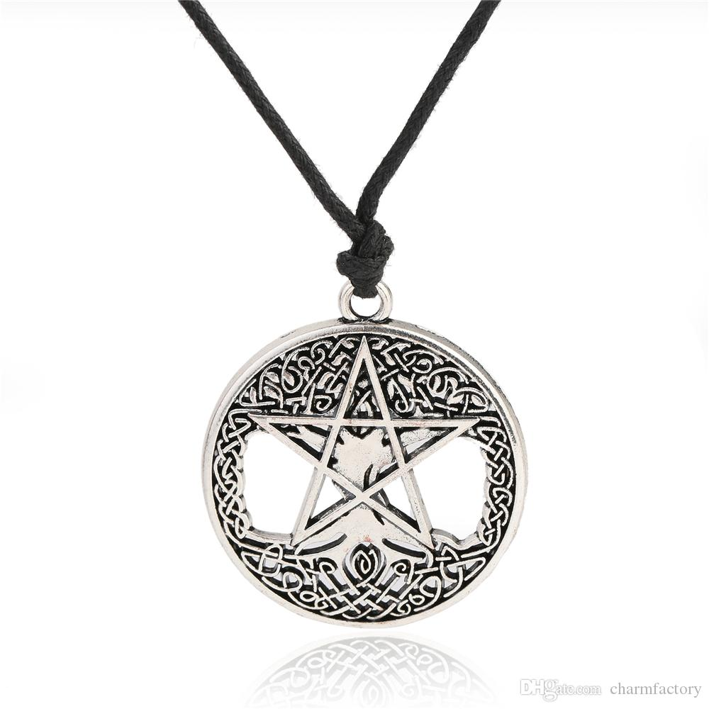 Wholesale Fishhook Pentacle Tree Of Life Necklace Wicca Jewelry Long