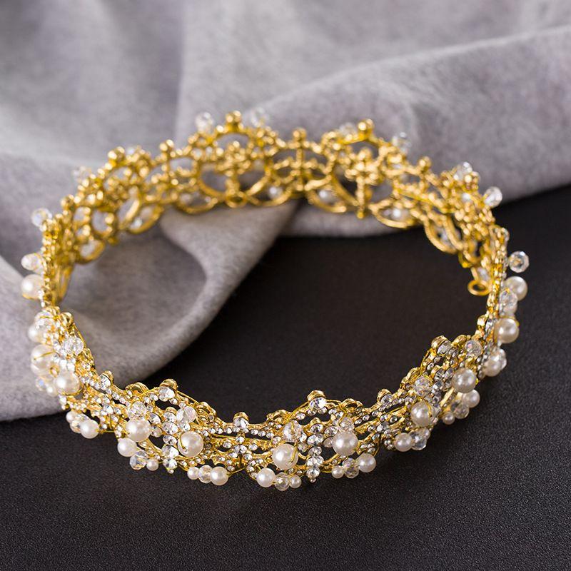 Korea Pearls Crystal Bridal Crowns Hairbands Girlsl Tiaras Women Headbands Banquet Headpieces Diadem Tiara Wedding Veil Hair Accessories