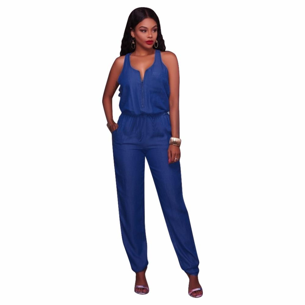1cd38a05993 2019 Jumpsuit For Women Overalls Romper Body Femme Harem Full Length Denim  Regular Fit Drawstring Waist Tank Sleeveless Blue Jumpsuit From Honry