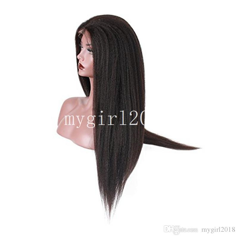 Heavy Density Long Italian Yaki Kinky Straight Synthetic Lace Front / Full Lace Wig Heat Resistant Fiber For Fashion Black Women Cheap Wigs