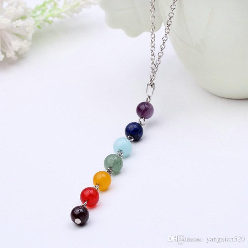 7 Chakra Gem Stone Beads Pendant Necklace Women Yoga Reiki Healing Balancing Maxi Necklaces Charms Bijoux Femme Jewelry