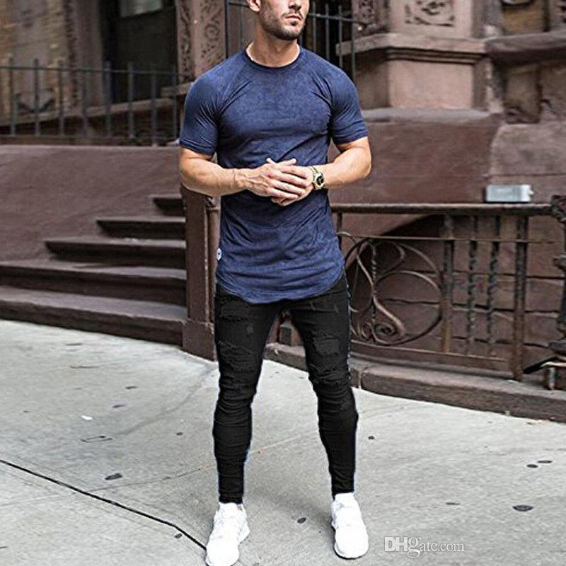 Yaz Ince Kot Erkek Giyim Mavi Siyah Moda Jean Pantolon Yırtık Uzun Pantolon Elbise