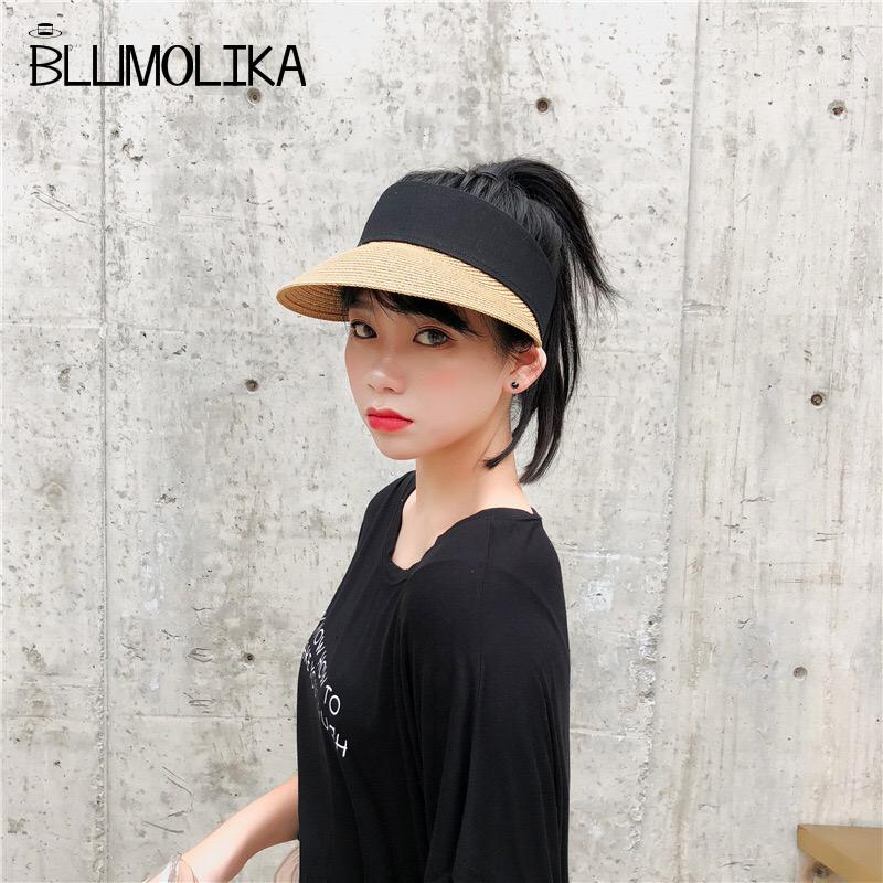 eef16b2db7f 2018 New Simple Summer Beach Sun Hats For Women Pearl Straw Sun Visor Hat  With Big Heads Wide Brim UV Protection Female Cap Panama Hats Fedora Hats  From ...