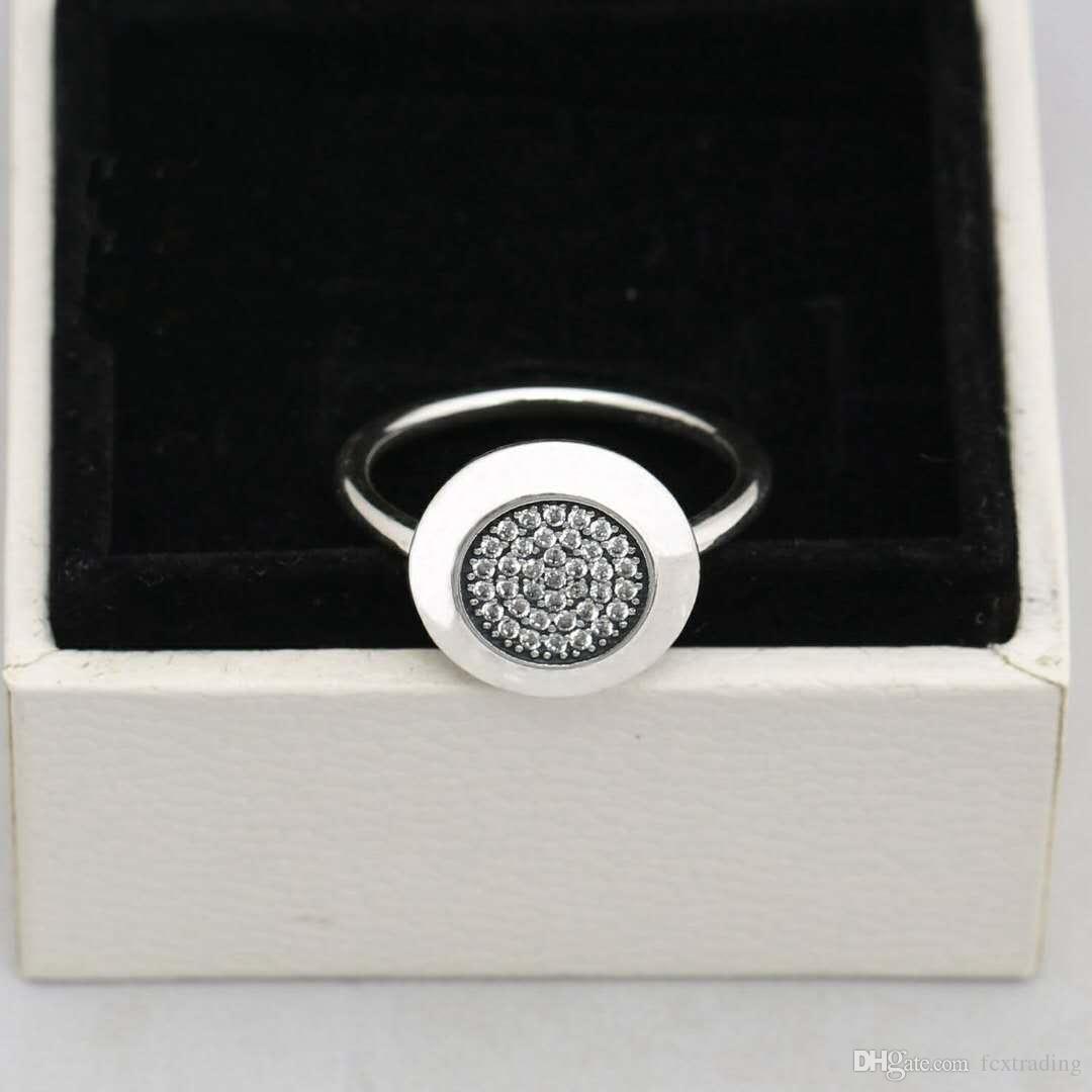 neueste Kompatibel fit für Schmuck Silber Ring Authentische 925 Sterling Silber Runde disc Ring Mit cz gepflastert