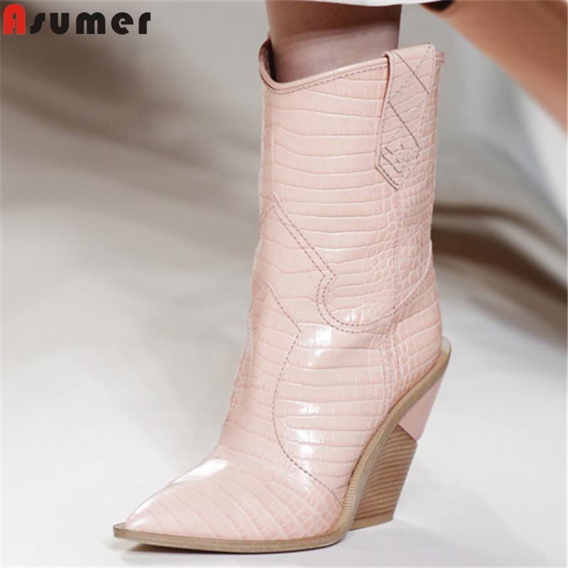 04af2b06 Compre ASUMER 2019 Nuevas Botas De Media Pantorrilla De Mujer Puntiagudo  Cuñas Zapatos Tacones Altos Botas Occidentales De Piel De Oveja En Otoño  Invierno A ...