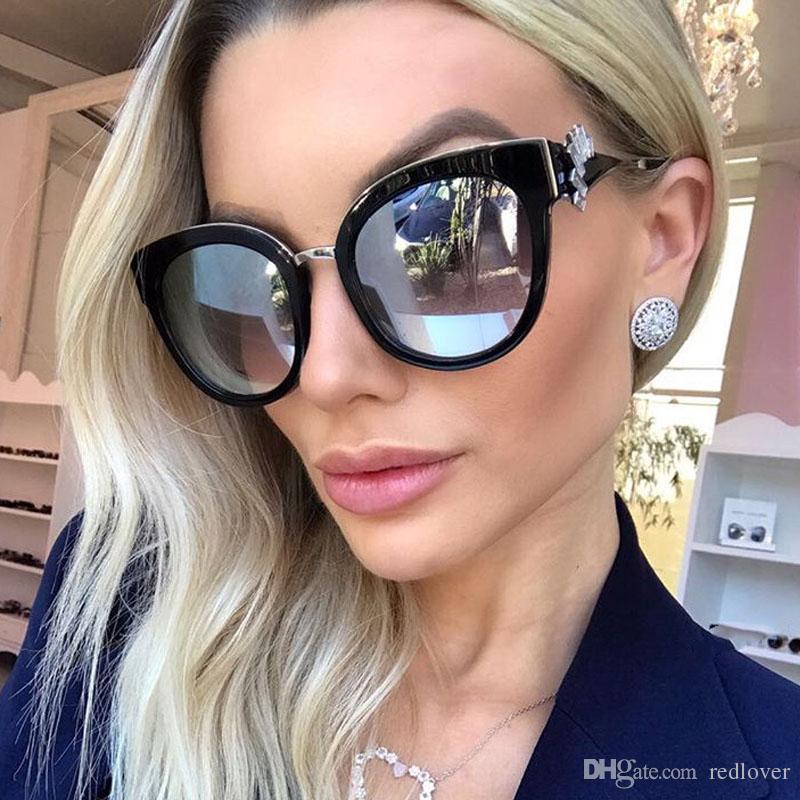 Crystal Diamond Sunglasses Large Frame Women Shiny Oval Glasses ...