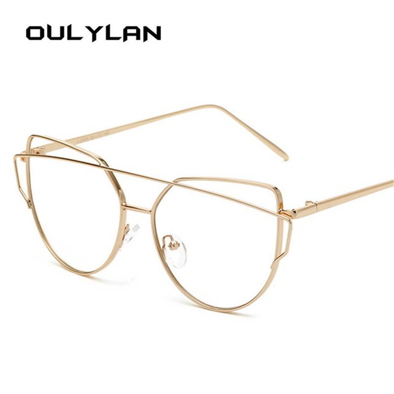 edfffc8ba00 Oulylan 2018 New Cat Eye Glasses Frame Fashion Double Beam Designer  Eyeglasses Retro Metal Frame Clear Eyewear Women Glasses