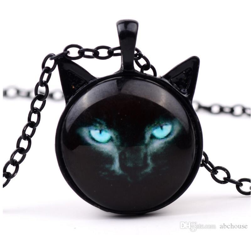 New Black Cat Glass Cabochon Necklace Silver Bronze Cat Ear Frame Pendants Fashion Jewlery Gifts for Women Kids