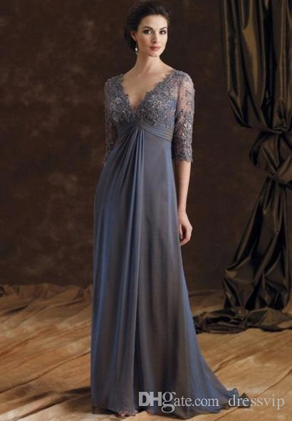 Chic Plus Size Mother Of The Bride Dresses Half Sleeves A-Line V-Neck Empire Waist Mother Of Groom Dress Floor-Length Chiffon Evening Gowns
