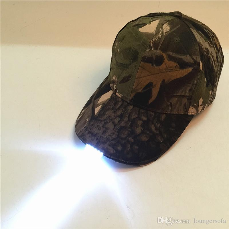 c9266c3753a 2019 Hip Hop Cotton Materials Snapbacks Night Fishing Camouflage Hat With  Led Lamp Folding Light Outdoors Baseball Cap 14xl Jj From Loungersofa