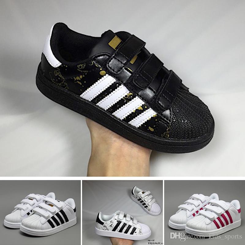 4b0811d4986 Compre Adidas 2018 Crianças Superstar Sapatos Original Ouro Branco Do Bebê  Crianças Superstars Tênis Super Estrela Meninas E Meninos Casual Kids Shoes  24 35 ...