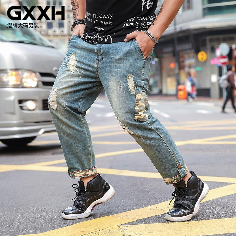 3285c69b577a Men Trendy Jeans 2018 GXXH Spring Summer Men's Big Size Fat Loose Large for Man  Holes Trend Jeans Casual Blue Male Denim Pants