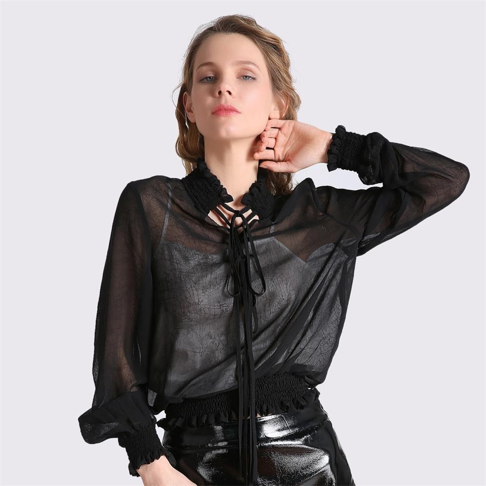 7993c68250b22 2019 2018 Spring Sexy Chiffon Blouse Casual Black Transparent Womens Tops  And Blouses Long Sleeve Women Shirts Plus Size Tops Talever From Tayler