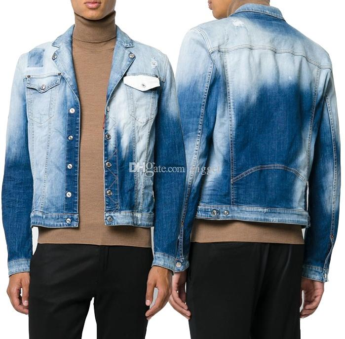 d59168b072b Men Bleach Wash Vintage Jean Jacket Fade Worn Out Distressed Slim Fit Denim  Cotton Outerwear Cool Guy Latest Mens Jackets Mens Jacket Coat From Bigget