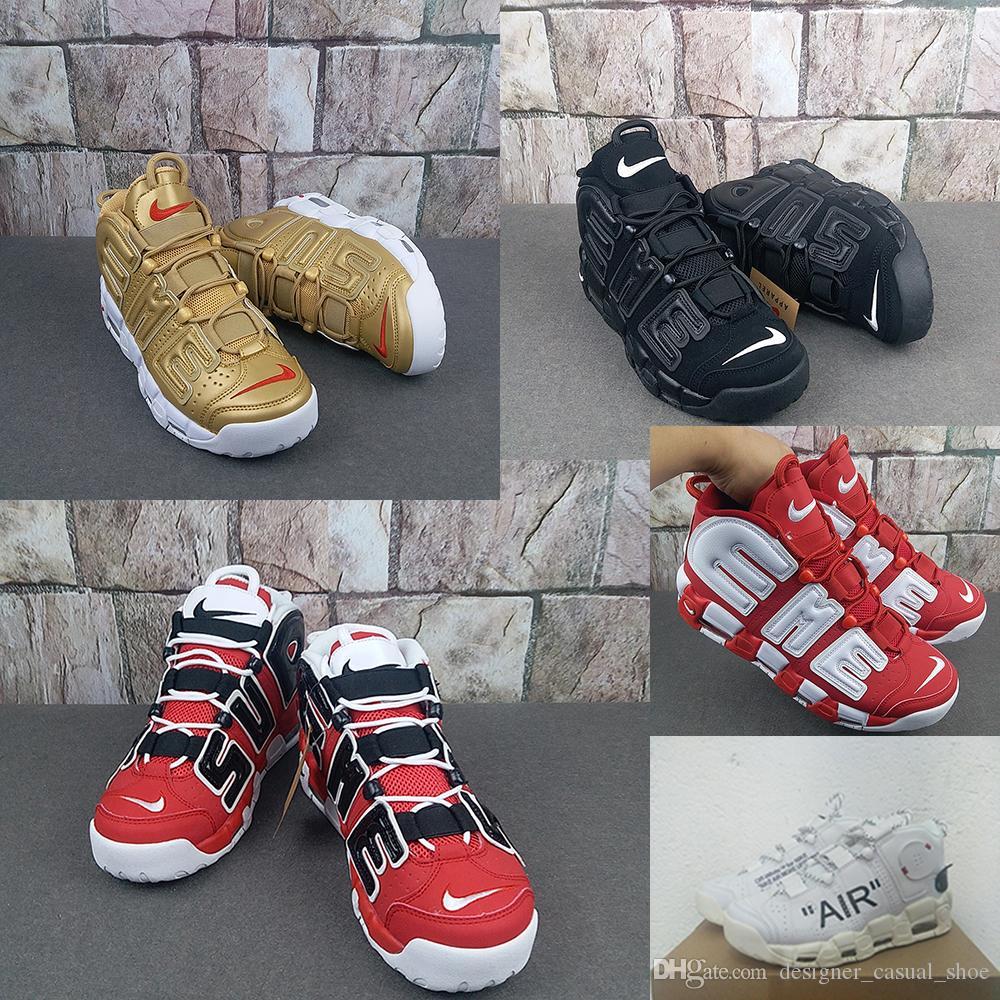 Compre AIR 2018 Nuevo Más Uptempo Off Hombres Baloncesto Zapatos De Lujo  Negro Oro Rojo Blanco 3M Pippen Designer TOP Zapatillas Deportivas A  30.46  Del ... a46437a0a1a