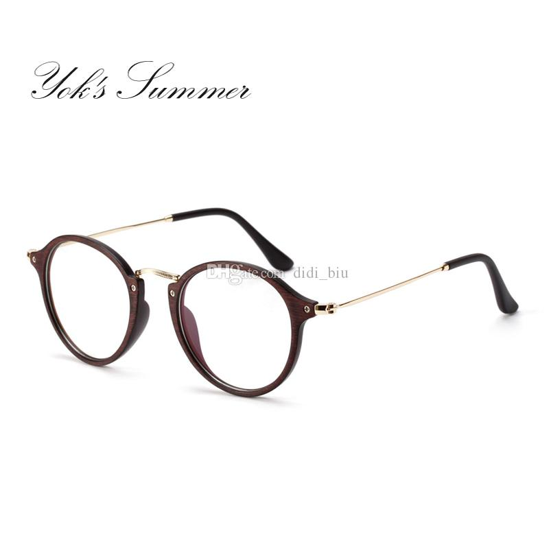 100c1d141d9 2019 Yok S Summer Round Wood Thin Metal Glasses Frame Vintage Spectacle  Frames For Women Men Accessories Eyewear Female Lunette WN097 From  Didi biu