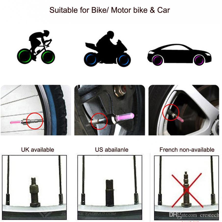 El envío de DHL llevó la luz del casquillo de la válvula de la rueda del neumático del flash para el coche de la bici de la bicicleta de Motorbicycle de la rueda Tire la tapa del vástago de la válvula del neumático de Rhinestone