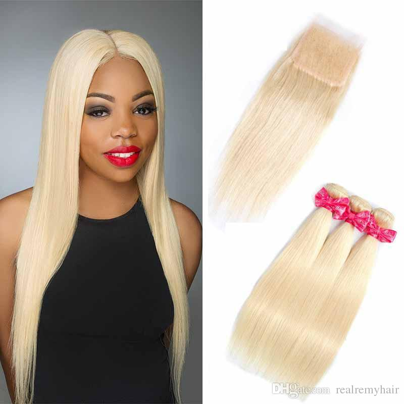 Brazilian 613# Blonde Virgin Hair 3 Bundles with Lace Closure Top Lace Closure and Bundles Silk Straight Hair Extension With Lace Closure