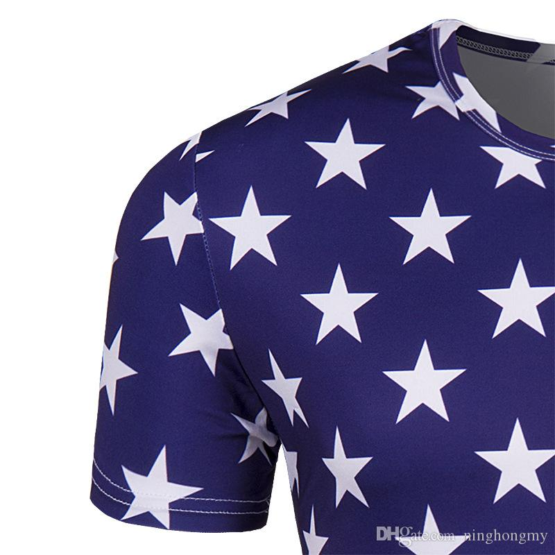 Venta al por mayor bandera americana camiseta hombres / mujeres Sexy 3D Imprimir camiseta rayada EE. UU. Bandera neutral camiseta Verano Casual Tops Tees amantes ropa