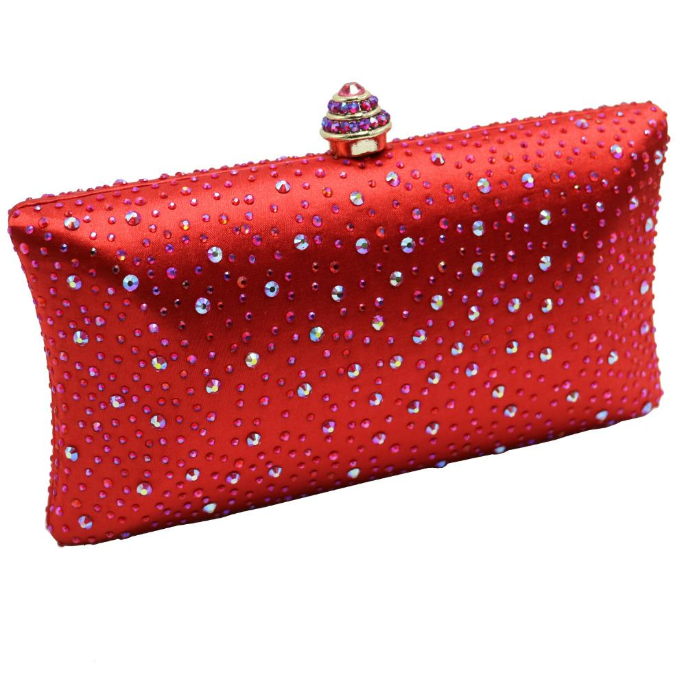 Red Hard Case Box Clutch Crystal Evening Bags for Womens Party Wedding Bridal Clutch Wallet Crystal Clutches