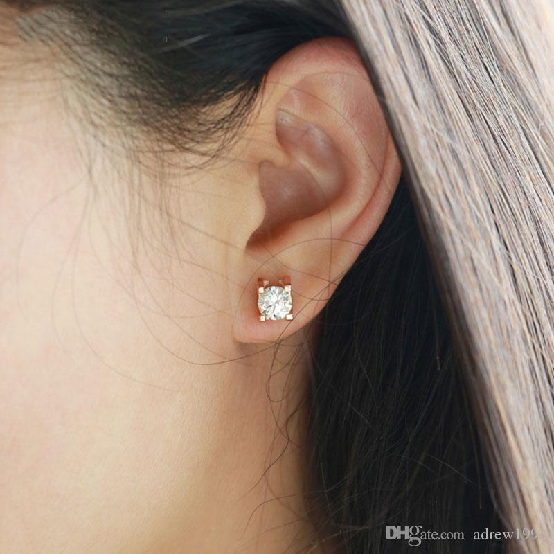 a1dd25be2b4f00 2019 18K Rose Gold Simulation Single Diamond Stud Earrings Simple Female  Male Earrings From Adrew1992, $4.37 | DHgate.Com